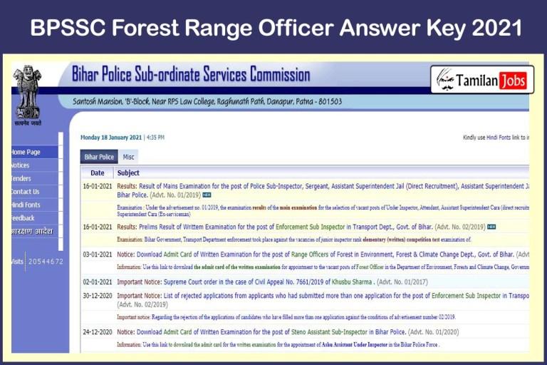 BPSSC Forest Range Officer Answer Key 2021 PDF   Download Here