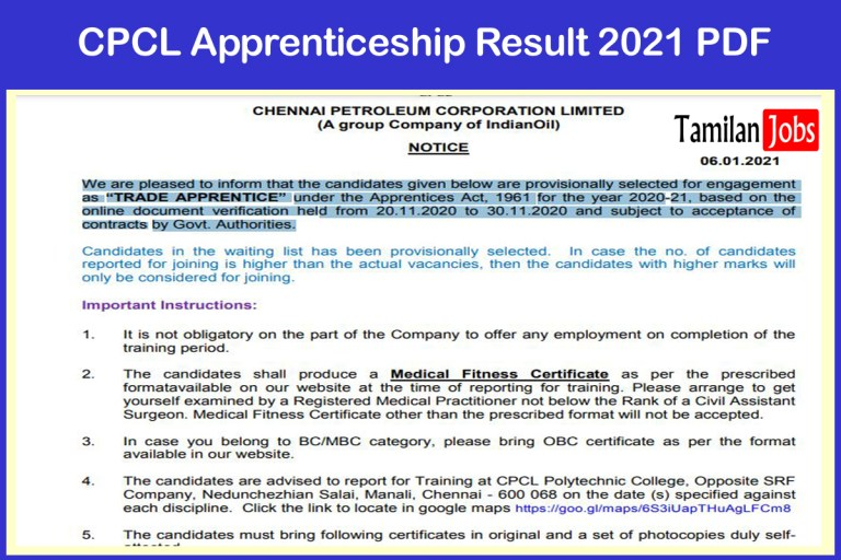 CPCL Trade Apprentice Result 2021 Out | Check  Merit List, Selection List @ cpcl.co.in