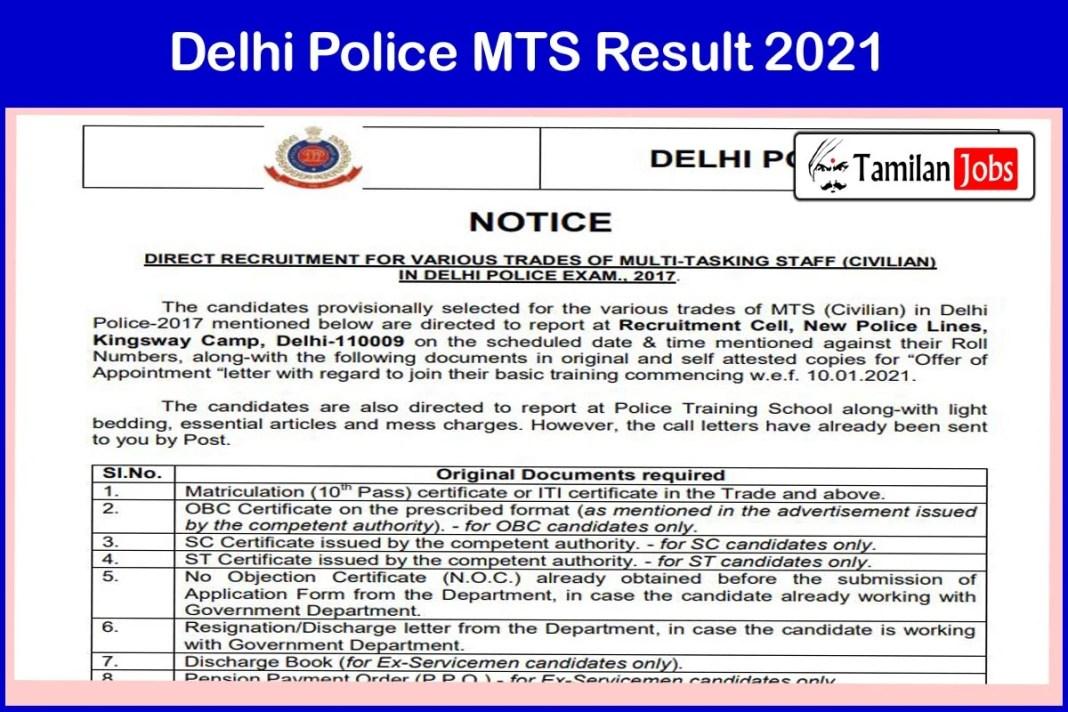 Delhi Police MTS Result 2021