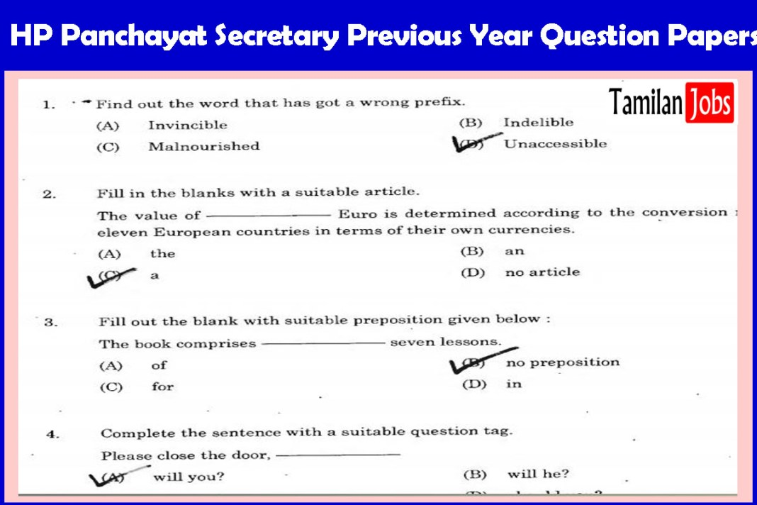 HP Panchayat Secretary Previous Year Question Papers