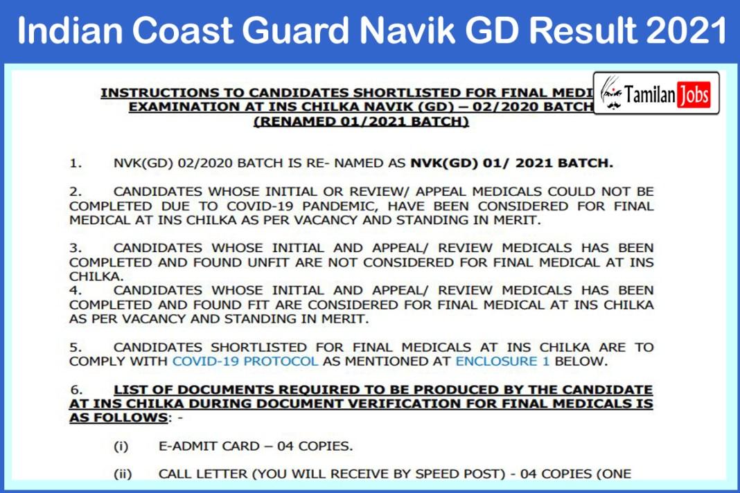 Indian Coast Guard Navik GD Result 2021