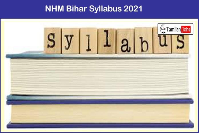 NHM Bihar Accountant, Accounts Assistant Syllabus 2021 PDF | Check @ statehealthsocietybihar.org