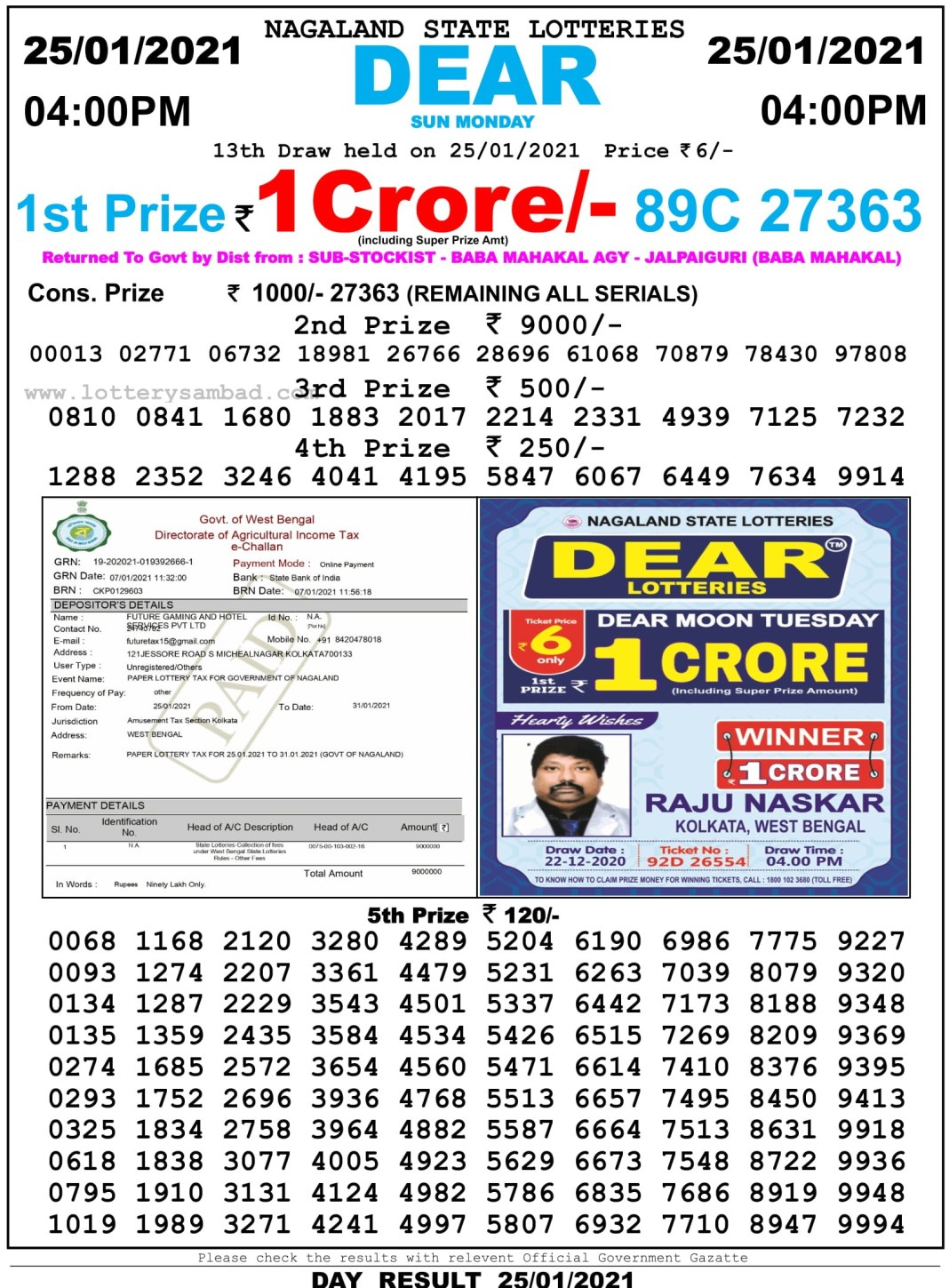 Nagaland State Lottery Result 4 PM 25.1.2021