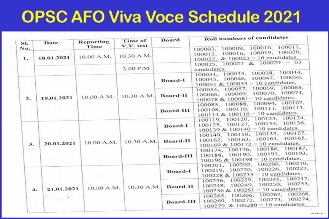 OPSC AFO Viva Voce Schedule 2021
