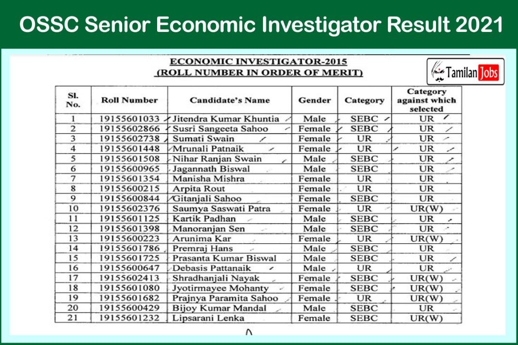 OSSC Senior Economic Investigator Result 2021