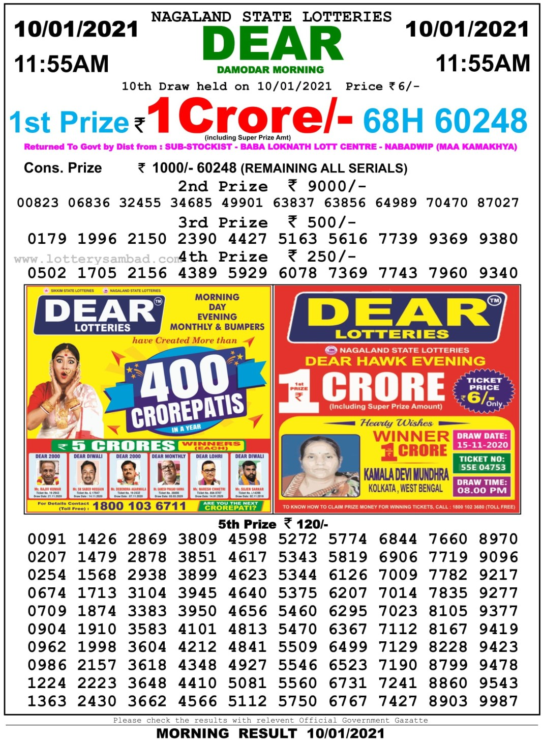 Sikkim State Lottery Result 11.55 AM 10.1.2021
