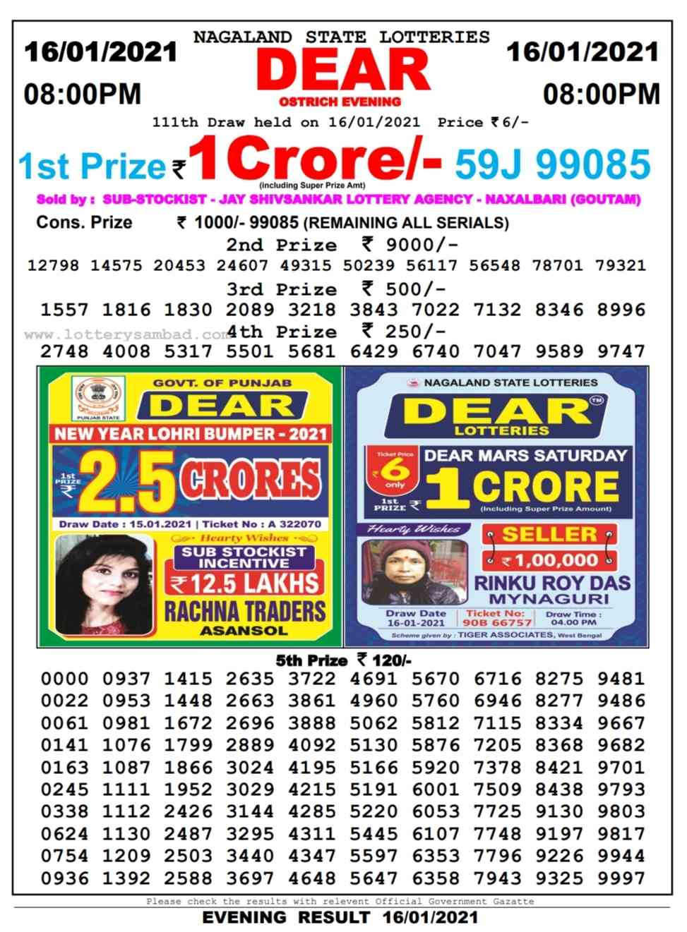 nagaland lottery sambad 8 pm result on 16.1.2021