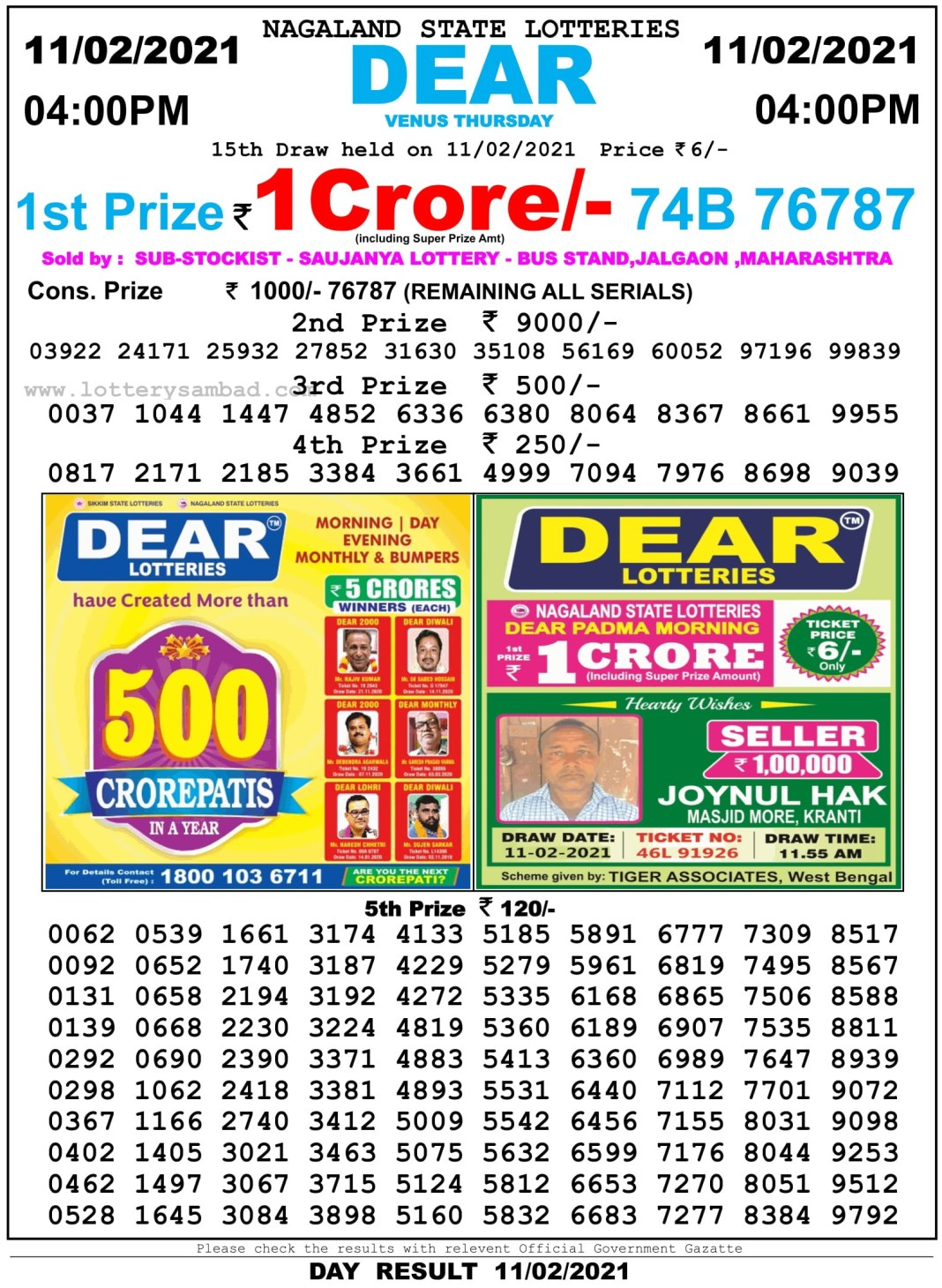 Nagaland State Lottery Result 4 PM 11.2.2021