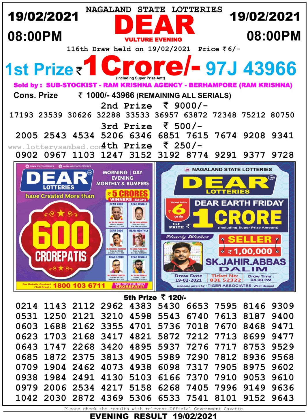 Nagaland State Lottery Result 8 PM 19.2.2021