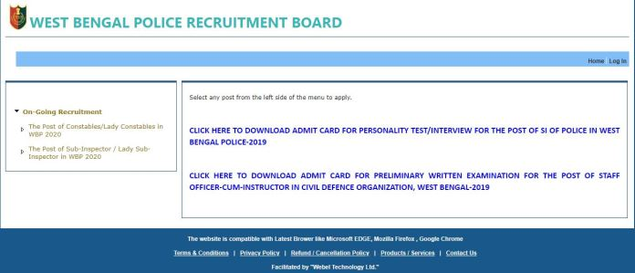 WB Police Staff Officer Admit Card 2021 (Out), West Bengal Instructor Exam Date @ wbpolice.gov.in