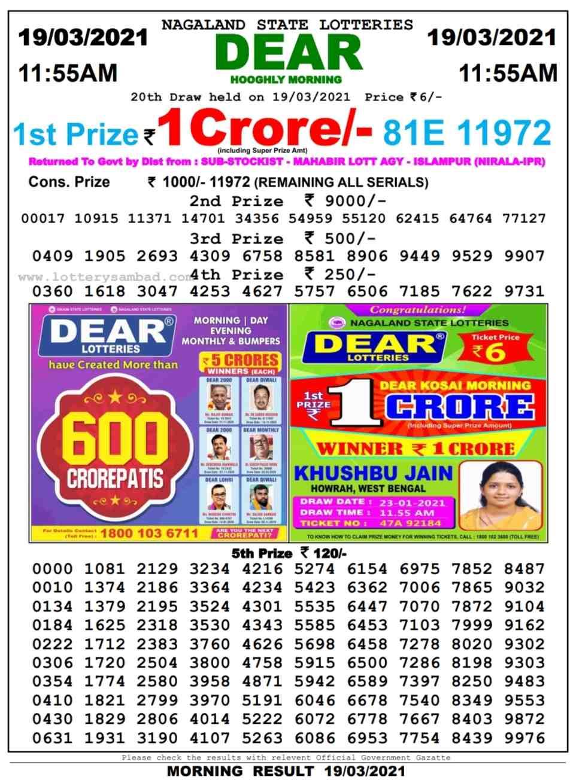 Lottery Sambad 11.55 AM Result on 19.3.2021