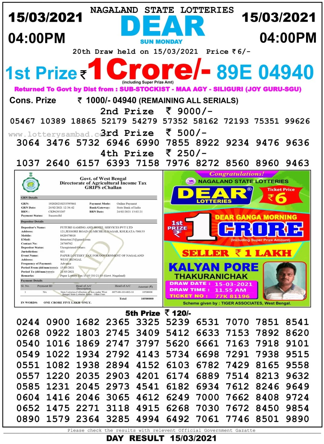Nagaland State Lottery Result 4 PM 15.3.2021