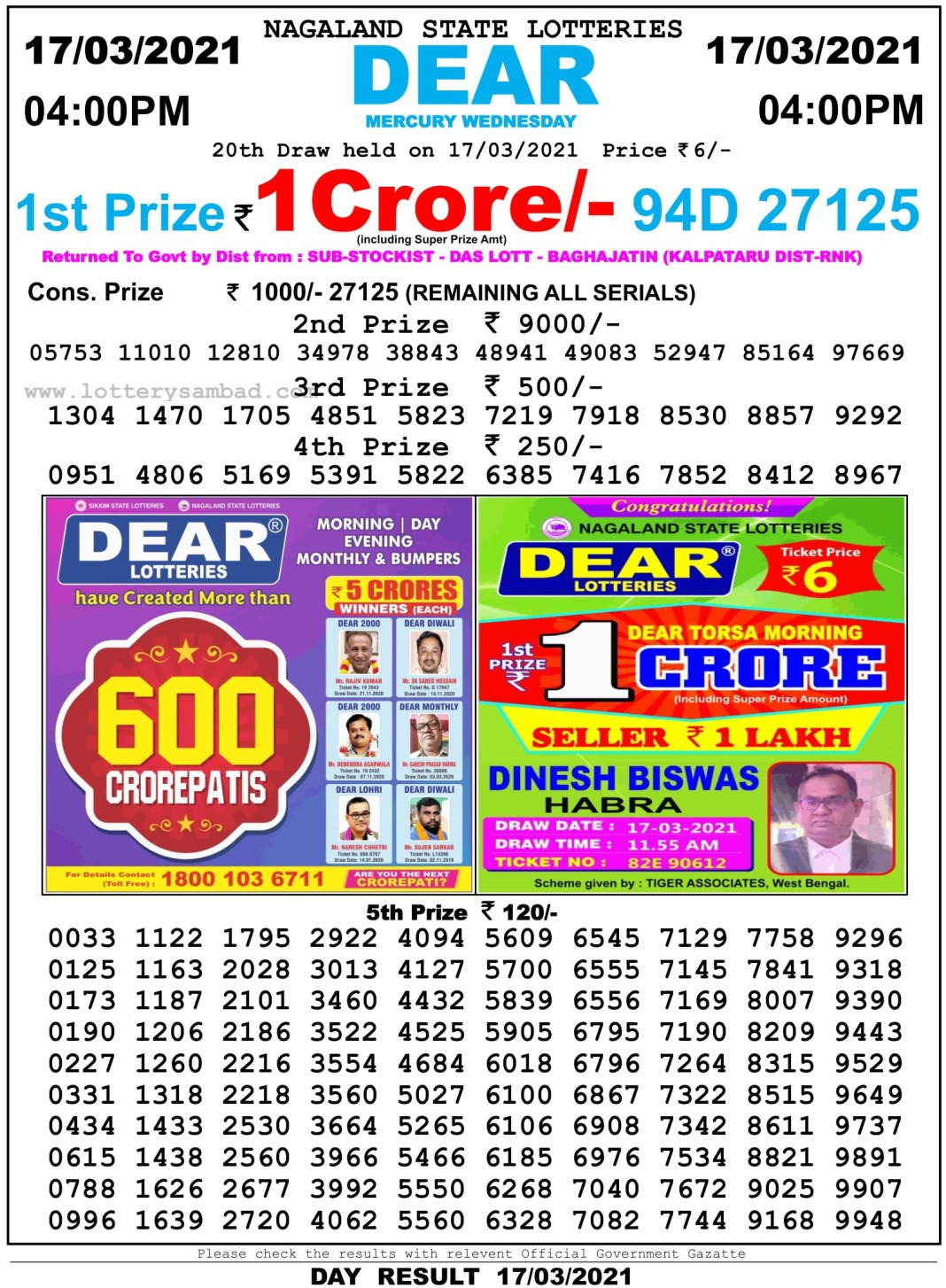 Nagaland State Lottery Result 4 PM 17.3.2021