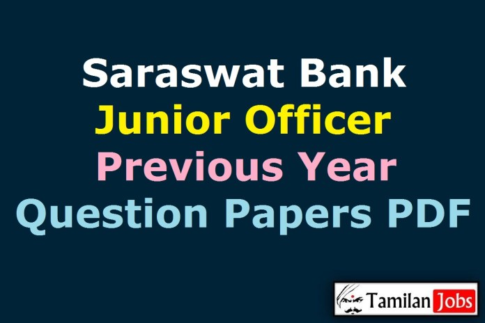 Saraswat Bank Junior Officer Previous Year Question Papers PDF