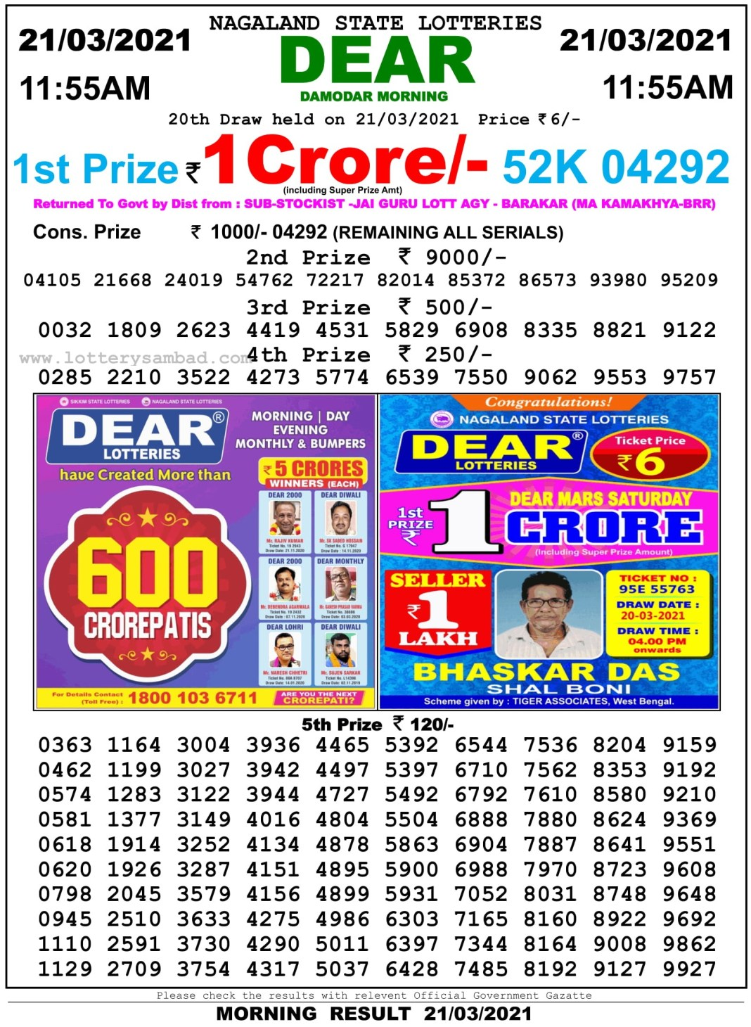 Sikkim State Lottery Result 11.55 AM 21.3.2021