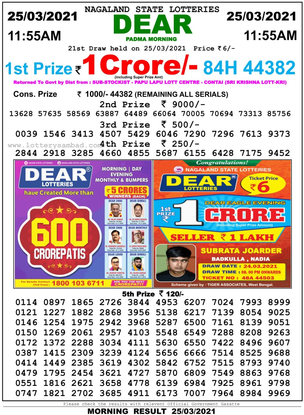 Sikkim State Lottery Result 11.55 AM 25.3.2021