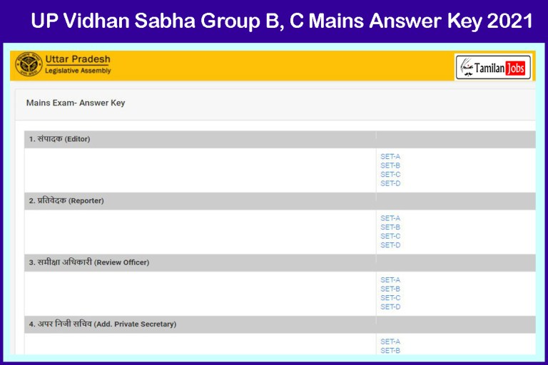 UP Vidhan Sabha Group B, C Answer Key 2021 (OUT) | Download Now