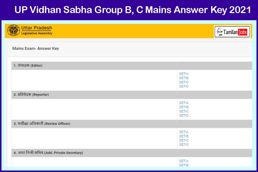 UP Vidhan Sabha Group B, C Mains Answer Key 2021