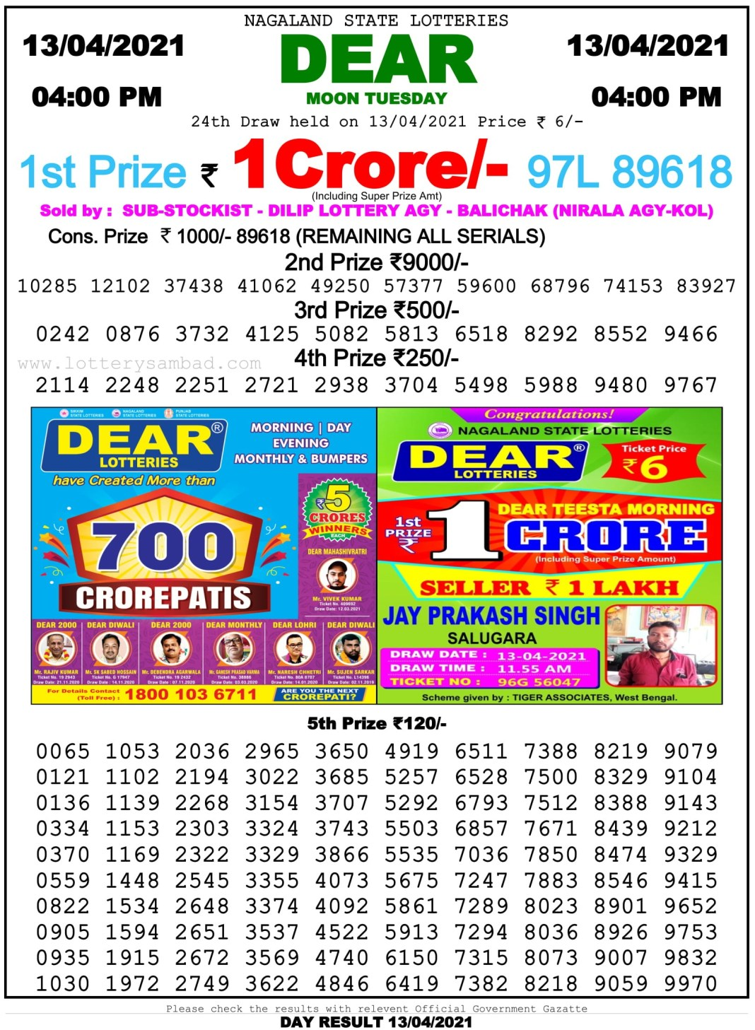 Nagaland State Lottery Result 4 PM 13.4.2021