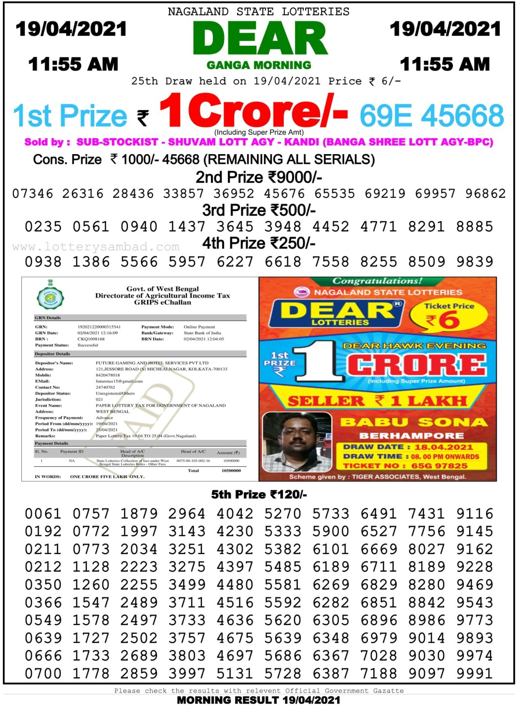 Sikkim State Lottery Result 11.55 AM 19.4.2021