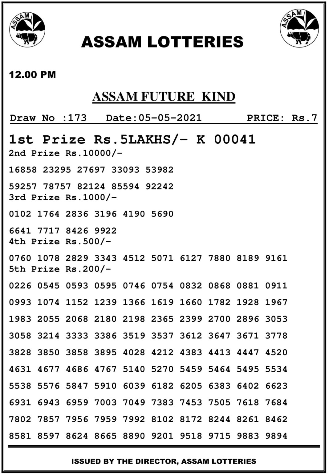Assam State Lottery Result 12 PM 5.5.2021