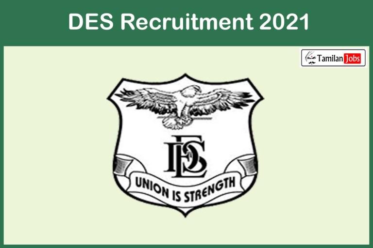 DES Recruitment 2021 Out – Apply Offline 12 Assistant Professor Jobs