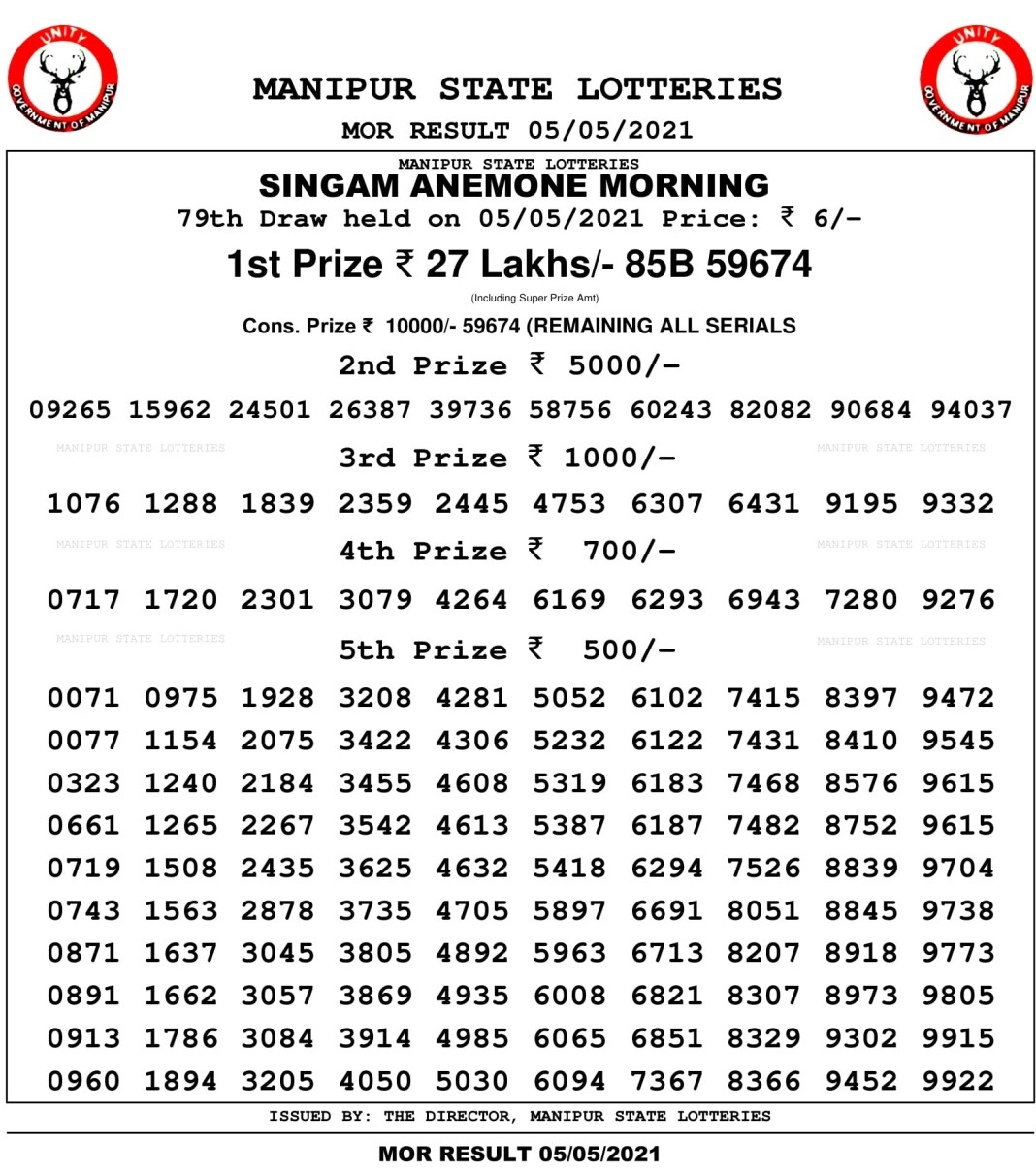 Manipur State Lottery Result 11 AM 5.5.2021