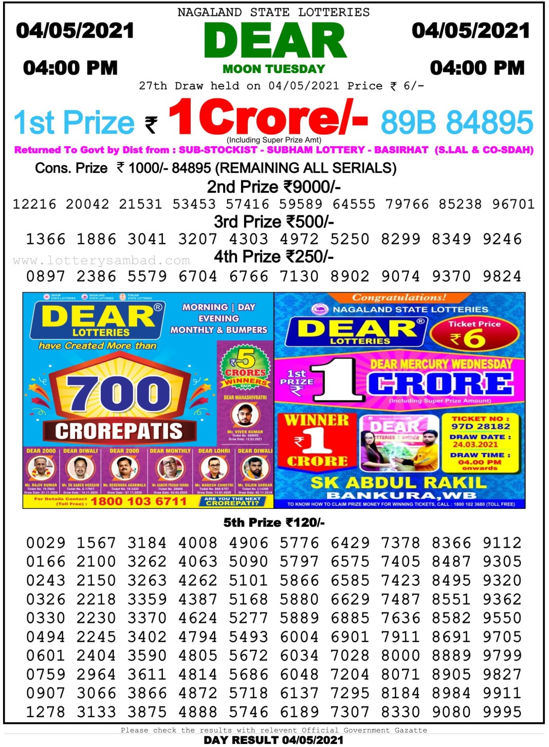 Nagaland State Lottery Result 4 PM 4.5.2021