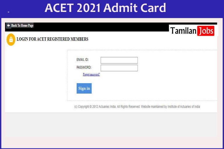 ACET Admit Card 2021 (Released) | Check Exam Date @www.actuariesindia.org