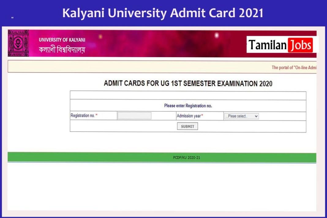 Kalyani University Admit Card 2021