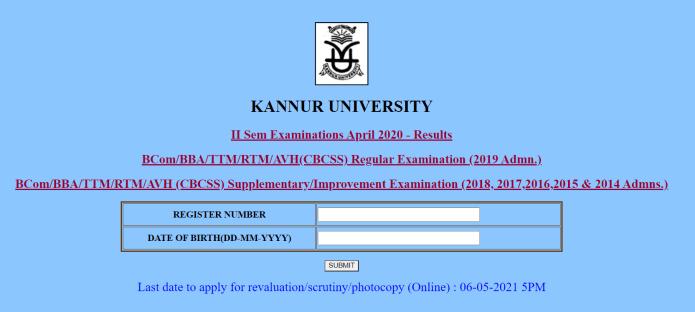 Kannur University Result 2021 {Released} @ kannuruniversity.ac.in