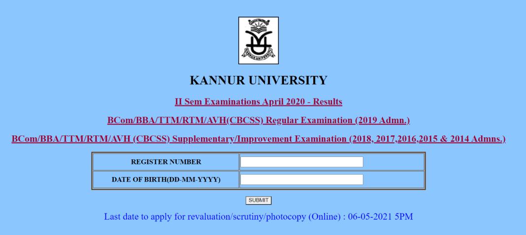Kannur University Results 2021