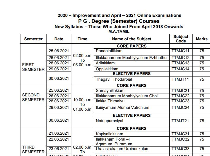 MK University Time Table April 2021 OUT | Download All UG, PG and MBA Courses