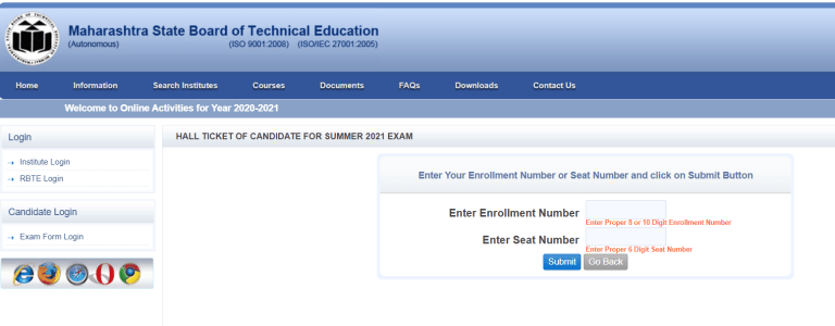 MSBTE Admit Card Summer 2021 Released @msbte.org.in   Check Time table &Exam Date Here!