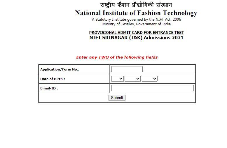 NIFT 2021 Admit Card