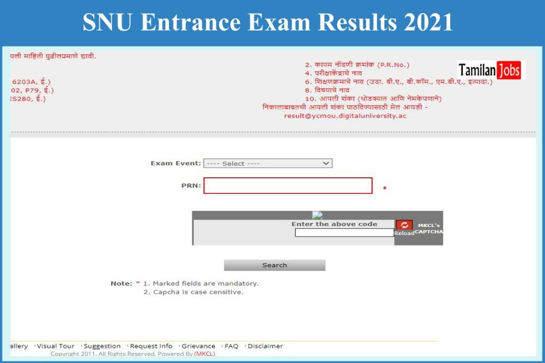 SNU Entrance Exam Results 2021