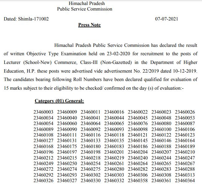 HPPSC Lecturer Result 2021 Out for School-New (Commerce) Class-III Post @hppsc.hp.gov.in