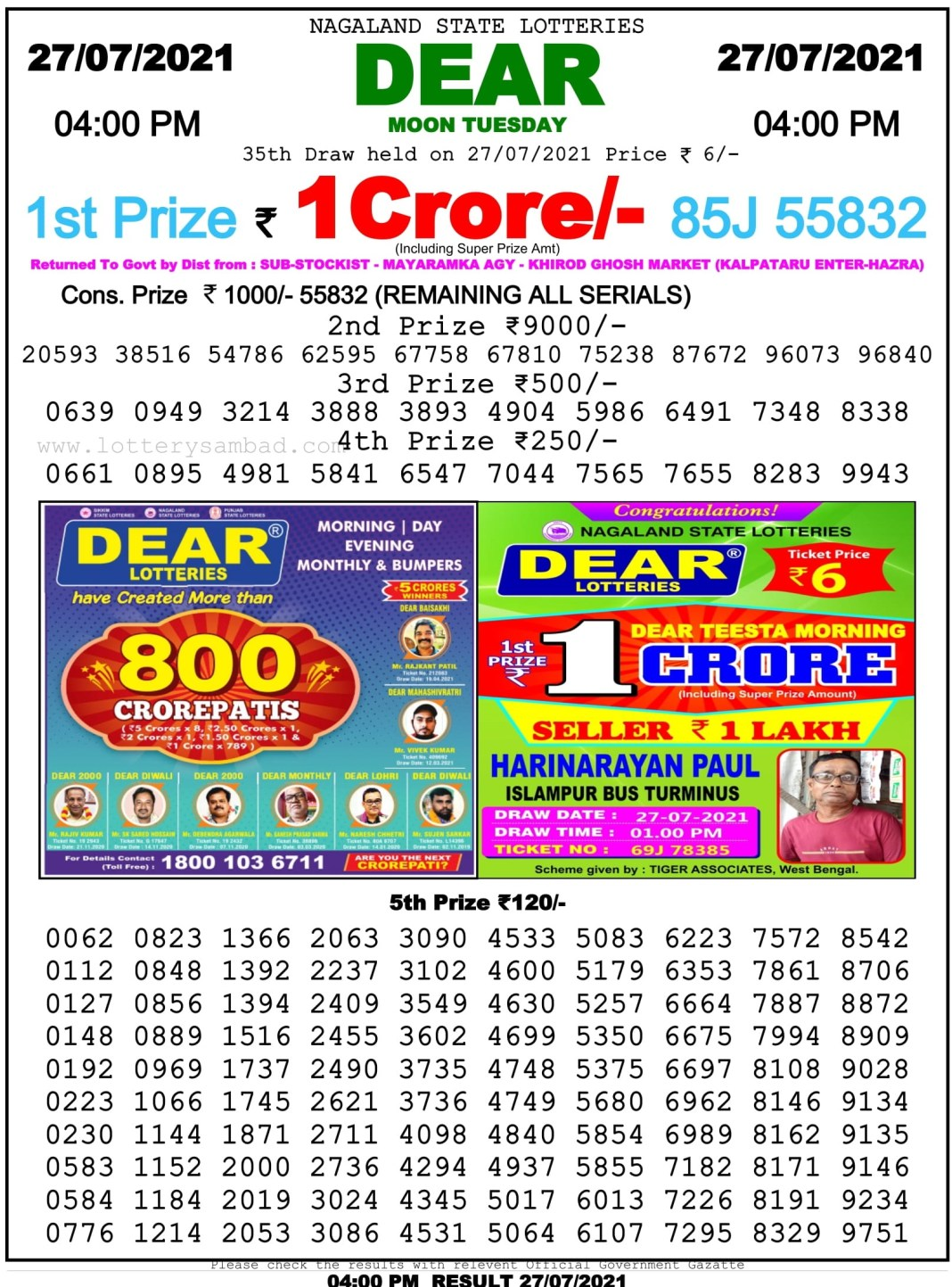 Nagaland State Lottery Result 27.7.2021 at 4 PM