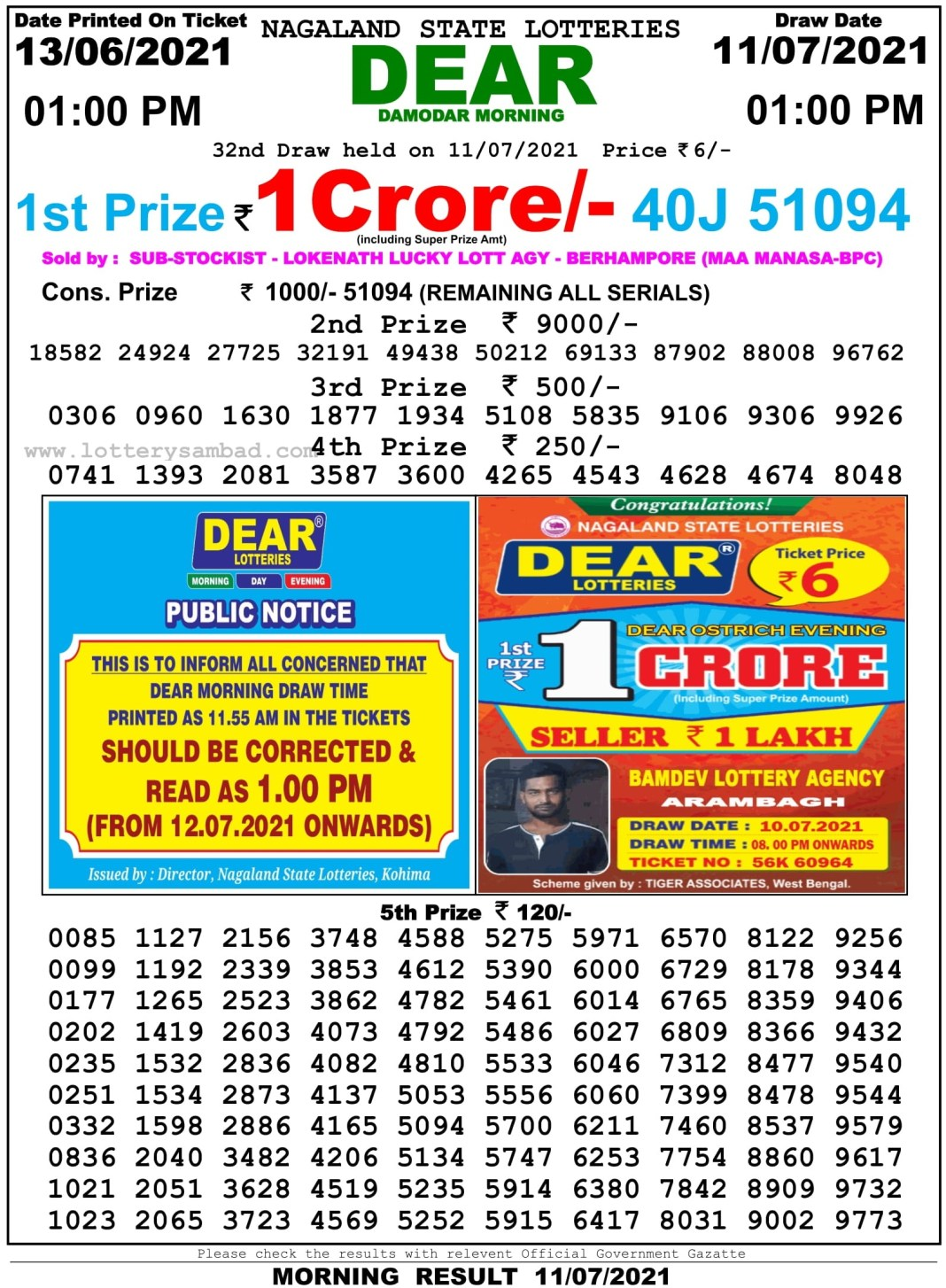 Sikkim State Lottery Result 11.7.2021 at 1 PM