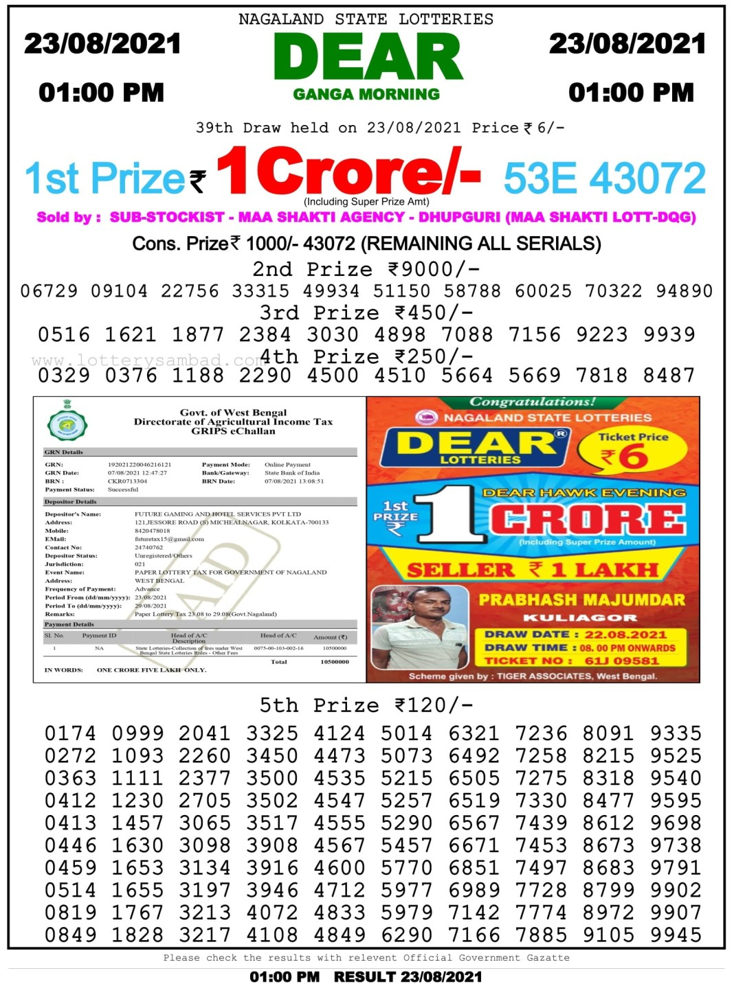 Lottery Sambd 1 PM Result on 23.8.2021