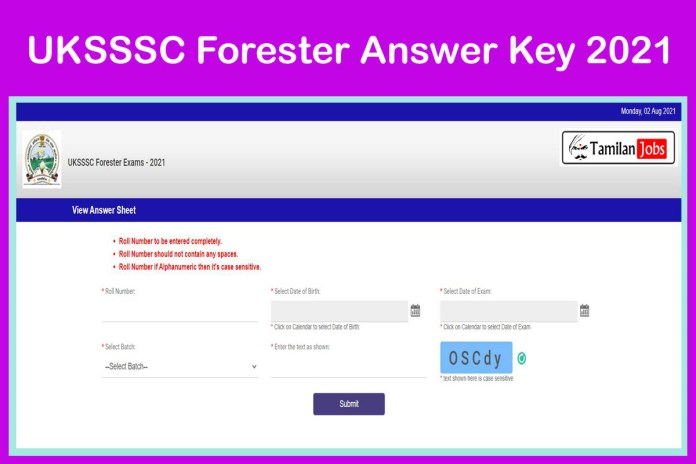 UKSSSC Forester Answer Key 2021 OUT @ sssc.uk.gov.in | Check It Out