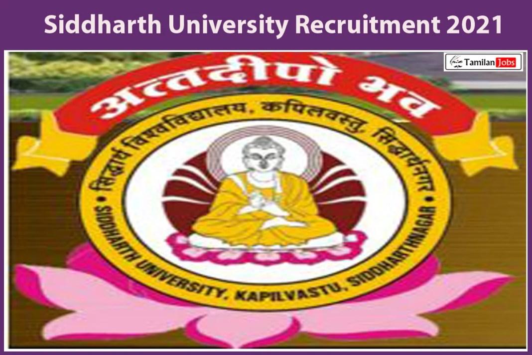 Siddharth University Recruitment 2021