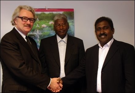 TNA MPs K. Sivanesan (middle), S. Jeyananthamoorthy (Right) shaking hands with Norwegian Special Env