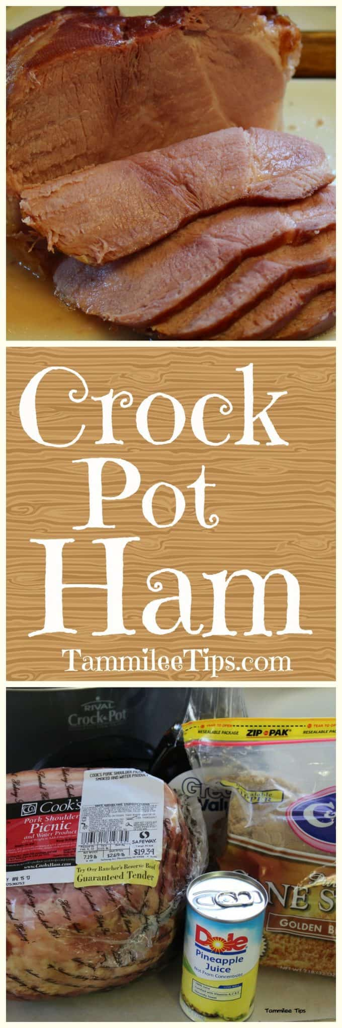 Super easy Crock Pot Ham Recipe! Make holiday prep a breeze with this easy slow cooker recipe! The perfect combination of pre cooked spiral ham, brown sugar, and pineapple juice! Add in pineapple slices for a fun addition. Great for Thanksgiving, Christmas, Easter or any day of the week!