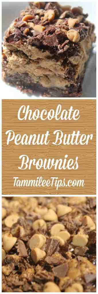 Easy Chocolate Peanut Butter Brownies Recipe! The perfect homemade sweet treat the entire family will love!