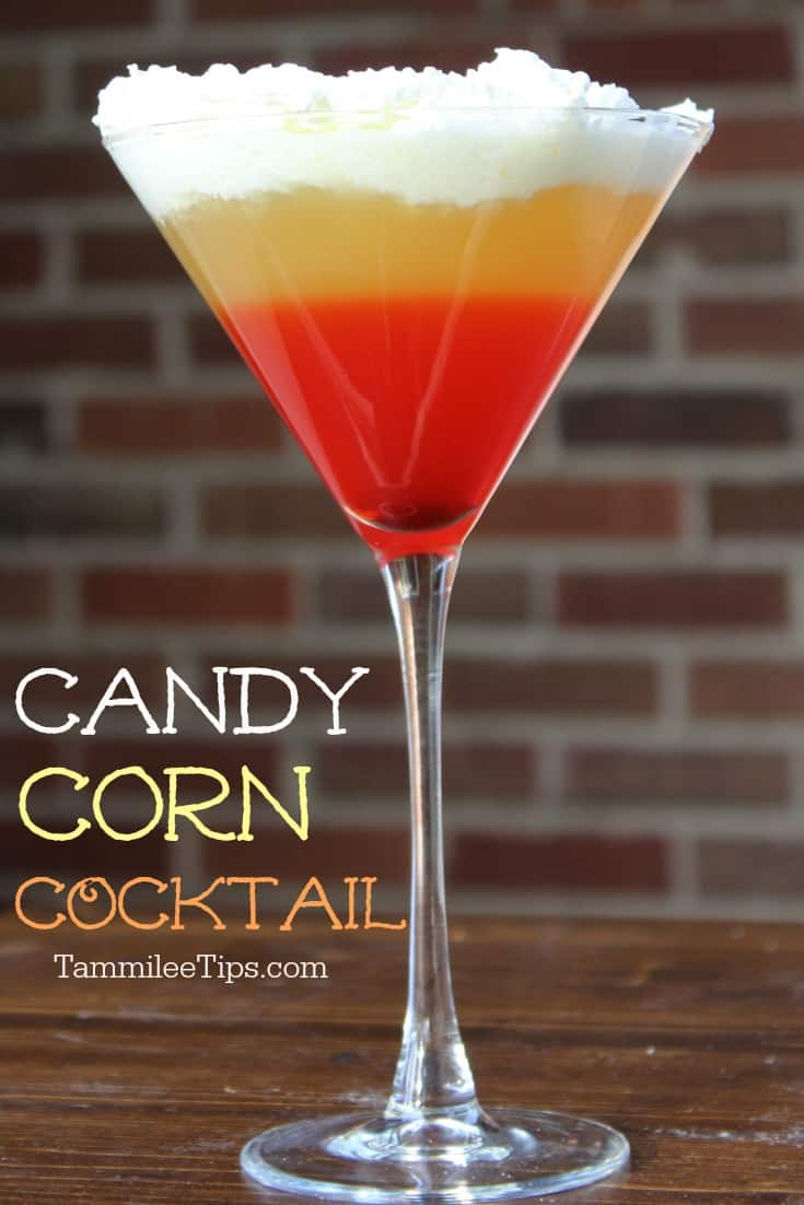 Candy Corn Cocktail perfect for Halloween Parties! So easy to make and a drink everyone will love!