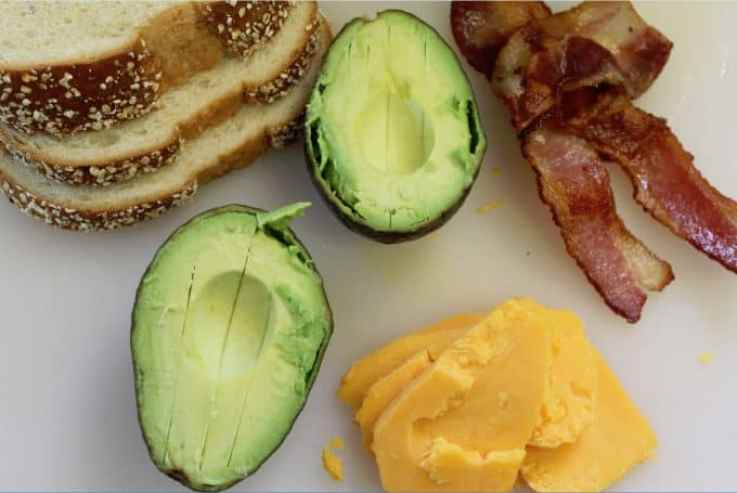 Bacon Avocado Grilled Cheese Ingredients