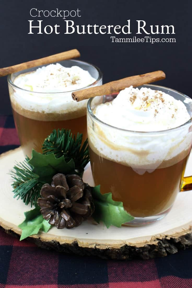 Quick and easy crockpot Hot Buttered Rum Recipe will warm you from the inside on a cold winter night. This easy slow cooker crock pot recipe is delicious! You can make the batter ahead of time and store it in the fridge. 