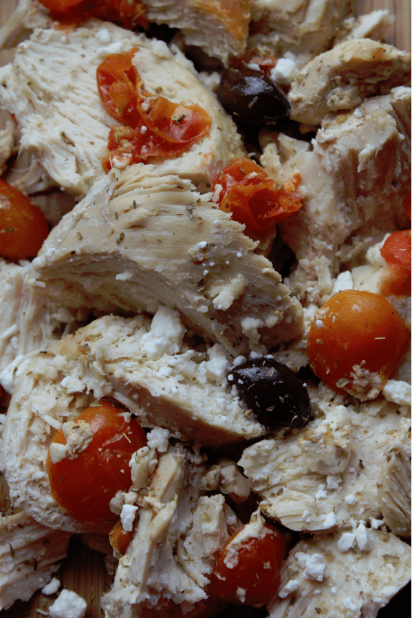 Crock Pot Mediterranean Chicken with kalamata olives and tomatoes