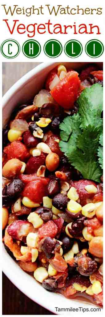 Weight Watchers CrockPot Vegetarian Chili Recipe is so delicious! The slow cooker does all the work! This WW Recipe tastes amazing and is perfect for a cold winter day or night. The perfect comfort food for the New Years Resolutions